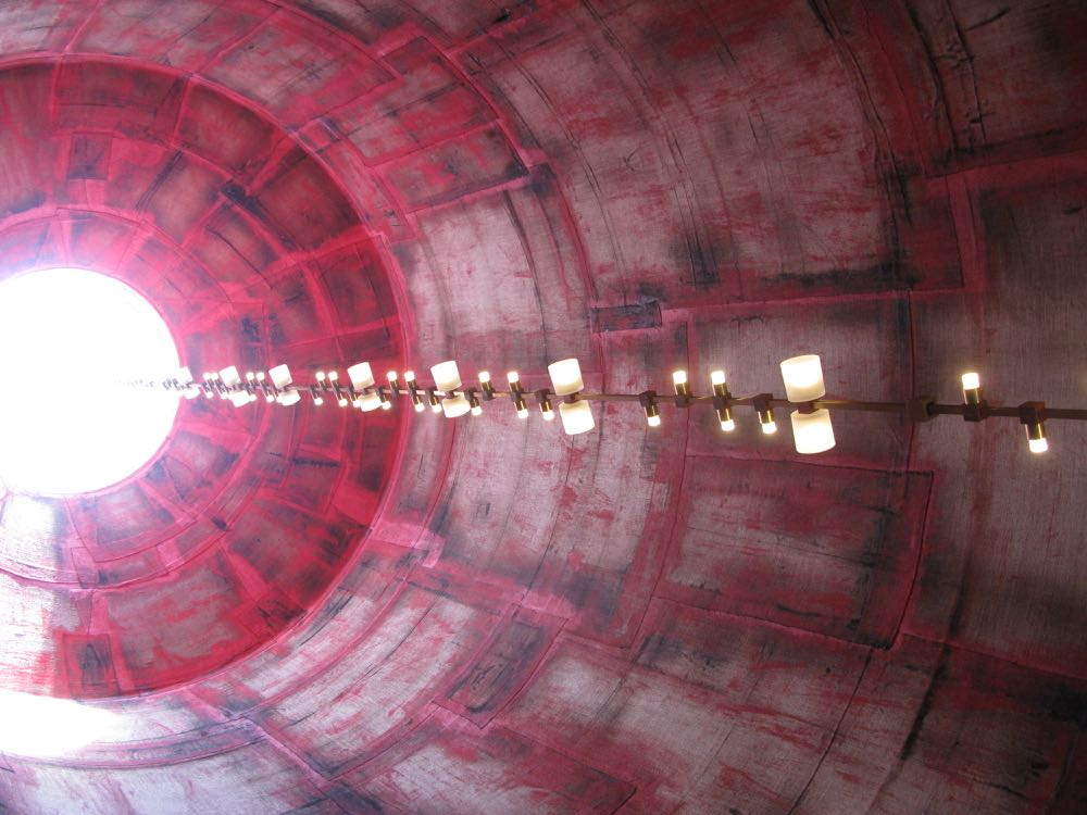 The view inside the silo representing fire in the Solis Silos installation at Viabizzuno.