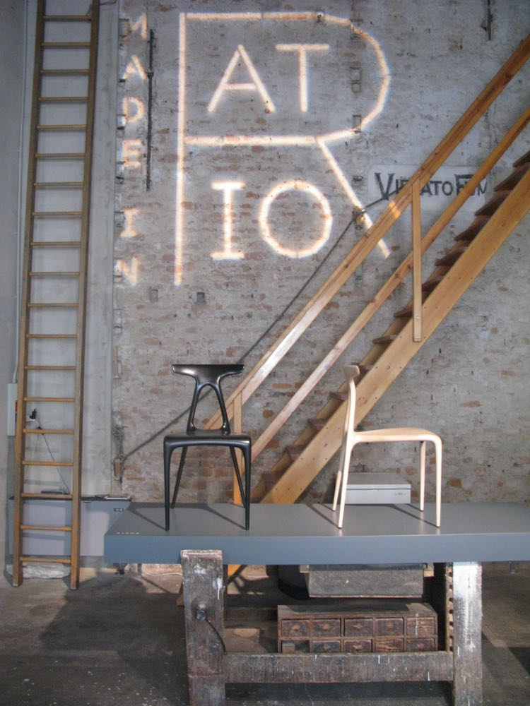 The magnificent double height workshop space where Made in Ratio showed their new 'Alpha' chair.
