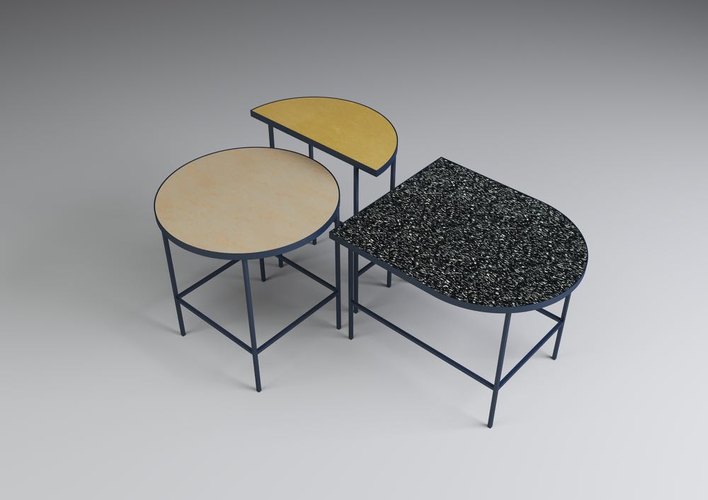 'Flip it' tables by  Marte Frøystad , seen at the   Norwegian Presence   exhibition at Ventura Lambrate. The shapes and colours work incredibly well together.