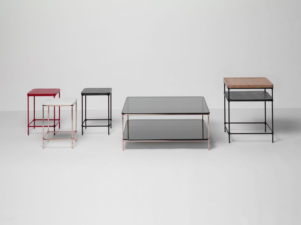 'MC Collection' by American manufacturer, Branch. Cast metal & steel tube with glass, timber or stone tops.
