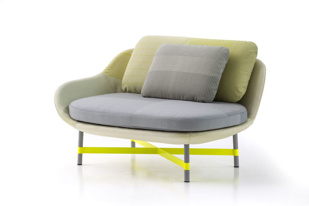 'Ottoman' by Scholten & Baijings for Moroso . Classic S&B  colours and use of fine grid patterned fabrics.