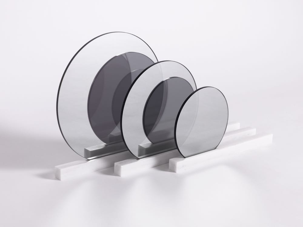 Swiss studio, Isabell Gatzen 'See right through me' mirror - Three sets of marble and one way mirror discs that reflect or are see through depending on the viewing angle.