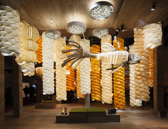 The  LZF  stand at Euroluce was spectacular.  If you don't think a 3.5 metre Koi made of strips of timber veneer is amazing, then there is something wrong with you. Photo by Craig Wall.