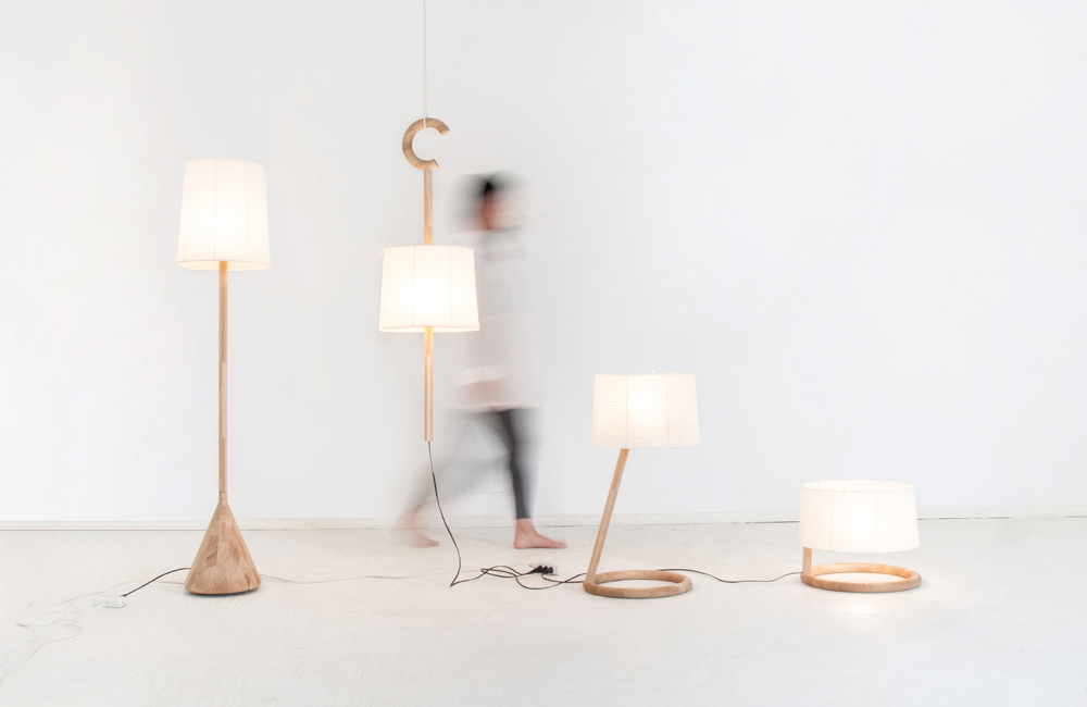 The 'Trans' lamps by K E D in paper and timber. All have the same volume but in slightly different shapes.