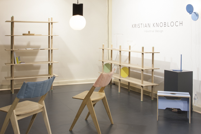 German designer Kristian Knobloch's stand at SaloneSatellite featuring his 'Eder' chair' and 'Babel' shelving.