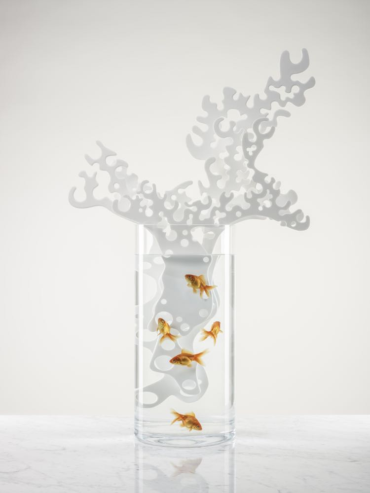 Charlyne Boulet & Virginie Taché's 'Have you put the flowers in the vase?' A Corian® coral that hides a water filter to make any vase capable of being transformed into an aquarium.