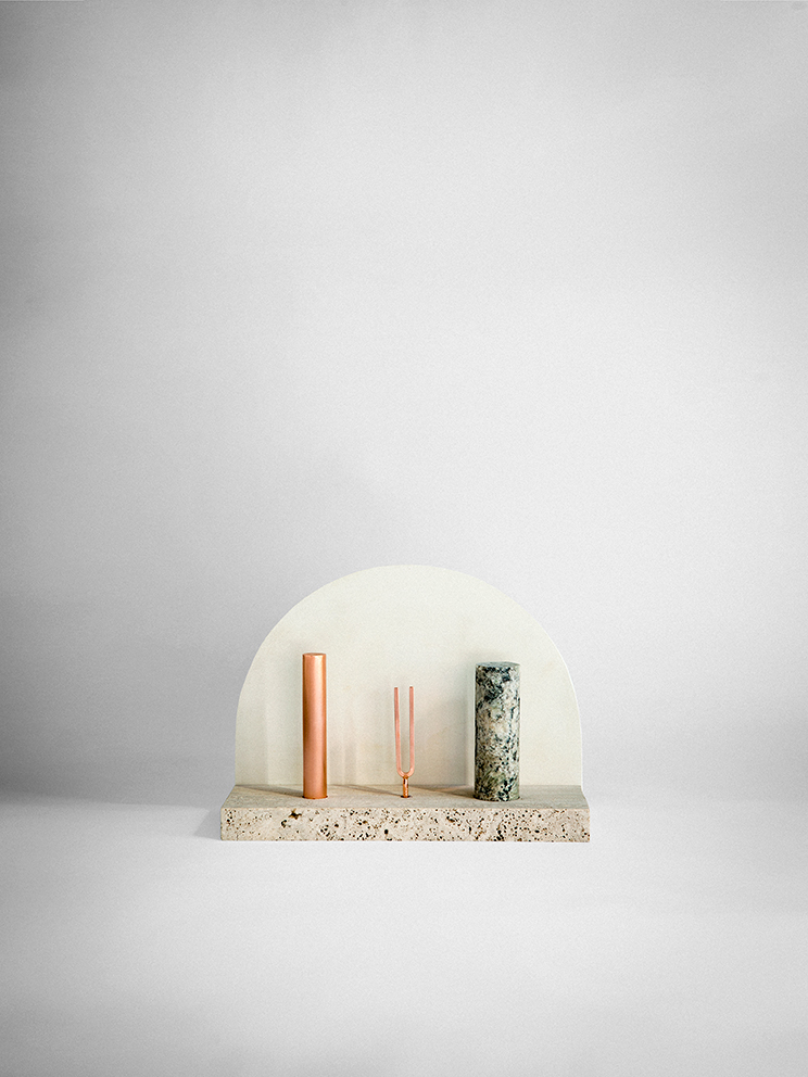 Like a miniature theatre set for the gods. 'VII' Iconic shapes and contrasting materials. Photo: Silvia Rivoltella