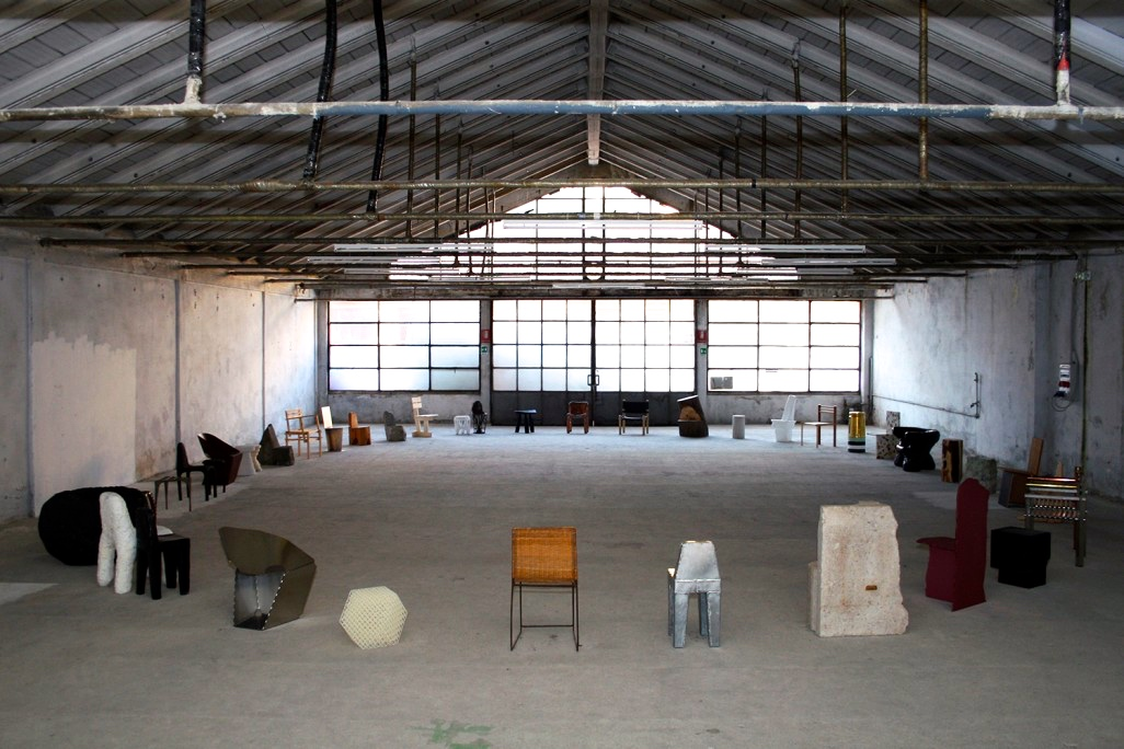 Max Lamb's  Exercises in Seating  in the industrial surrounds of Garage Sanremo. Photo: Sasa Stucin.