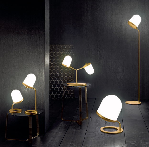The cute acorn shaped 'Lula' lights by Umberto Asnago for Penta in several table variations and floor lamp.