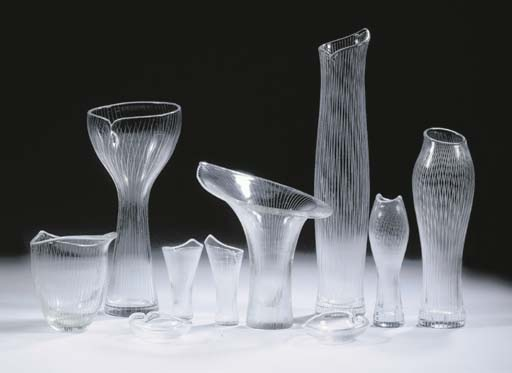 Some of Wirkkala's early glass work for Iittala including his first major design the 'Chanterelle' vase (centre). Photo: Christie's.