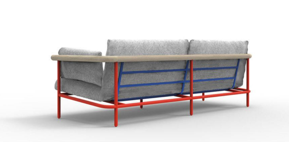 The 'X-ray' sofa by Alain Gilles for La Chance. Available in fabric or leather with contrast or matching frame.