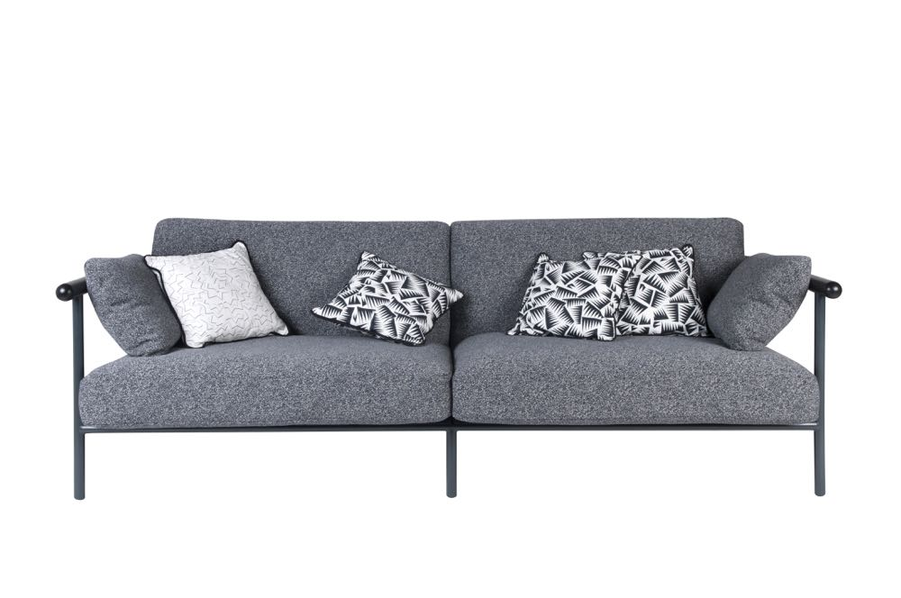 Front view of the two-seater variant of the 'X-ray' sofa by Alain Gilles.