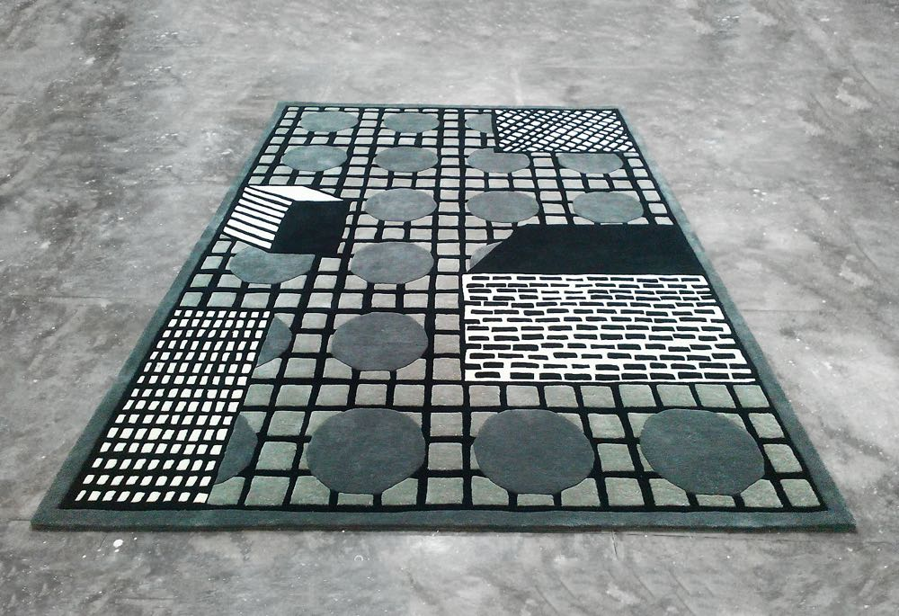 The 'Tapigris' rug is available in three colour ways - blue,purple and grey. Presumably designed by Nathalie du Pasquier who has designed fro the label in the past (no designerdetails at present).