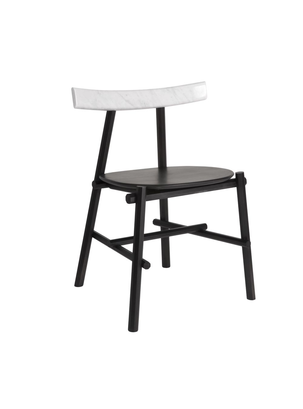 The 'Rōnin' chair can be specified with a shaped marble back rest.