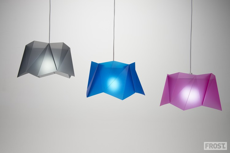 Jack Frost's 'Pento' lights in cut and folded polyproplylene sheet.