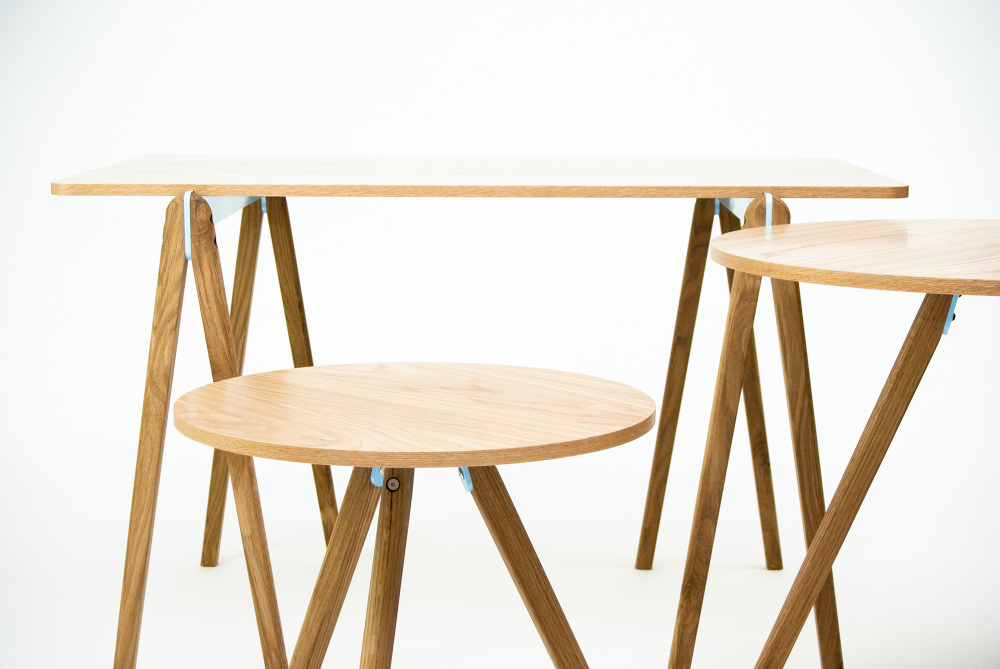 The 'Module' collection by Nicholas Fuller is an exercise in simple construction using metal brackets. The range so far consists of a trestle, circular tables.