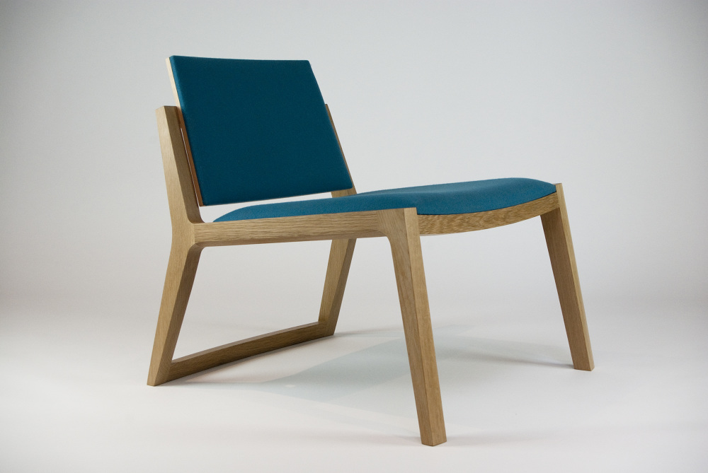 Nicholas Fuller's 'Phil' chair in oak & fabric. Also available in rock maple & stitched leather.