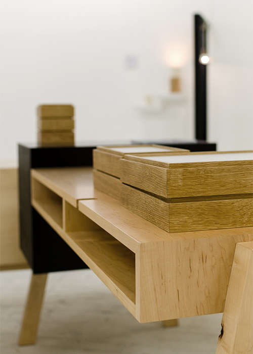 Nicholas Fuller's 'Juxta' desk and oak storage boxes. Photo by Adam Stone.