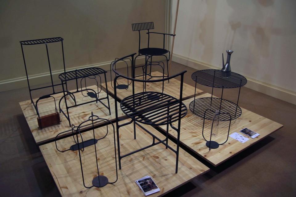 Furniture from the 'Ferro'collection by Vittorio Venezia at Salone Satellite 2015.