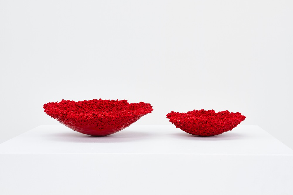 AndreHnatojko's 'Canyon RGB' bowls made from stained rock and powder coat. 37cm and 23cm in diameter and approximately10cm in height. An edition of 3