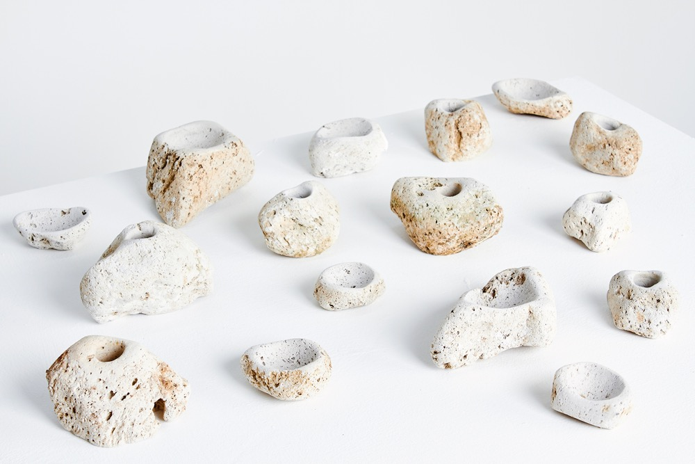 Liane Rossler's  'You Rock' bowls and candleholders made from found volcanic stone washed up on Australian beaches from the Kermadec Islands of New Zealand. 1 of 9.