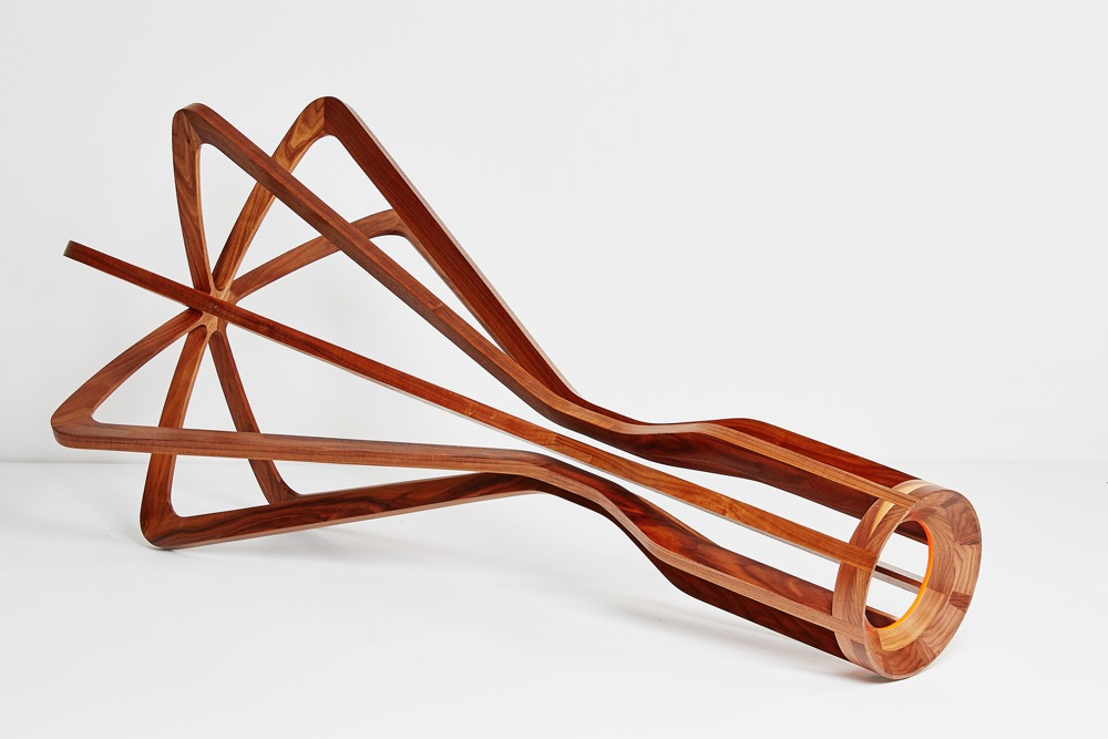 Jon Goulder's  'Artefact 1' sculptural object made from American walnut. This 2 metre long creation is a one-off piece.