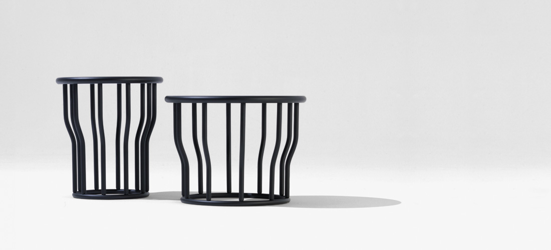 'Cosse' side tables from Italian manufacturer SIPA in black stained beech, distributed by Obodo.
