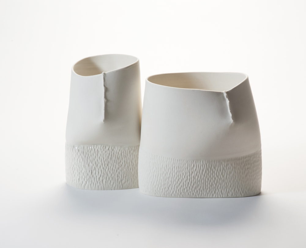 'Towards' vessels from 2012 are wheel thrown then altered and combine the scar motif with a stippled base. Photo Stephen Cummings.