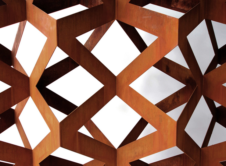 One of Korban & Flaubert's production pieces  - the 'Hive' screen in Corten steel.