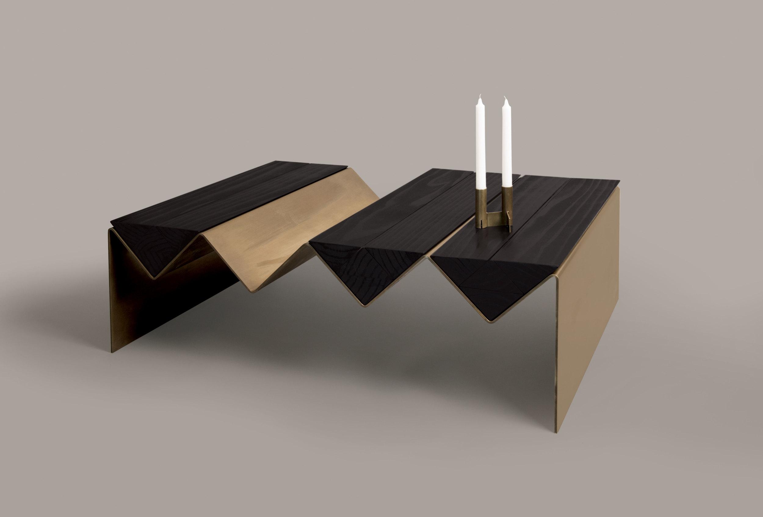 The 'Zig Zag' coffee table and 'Interlock' candlesticks.