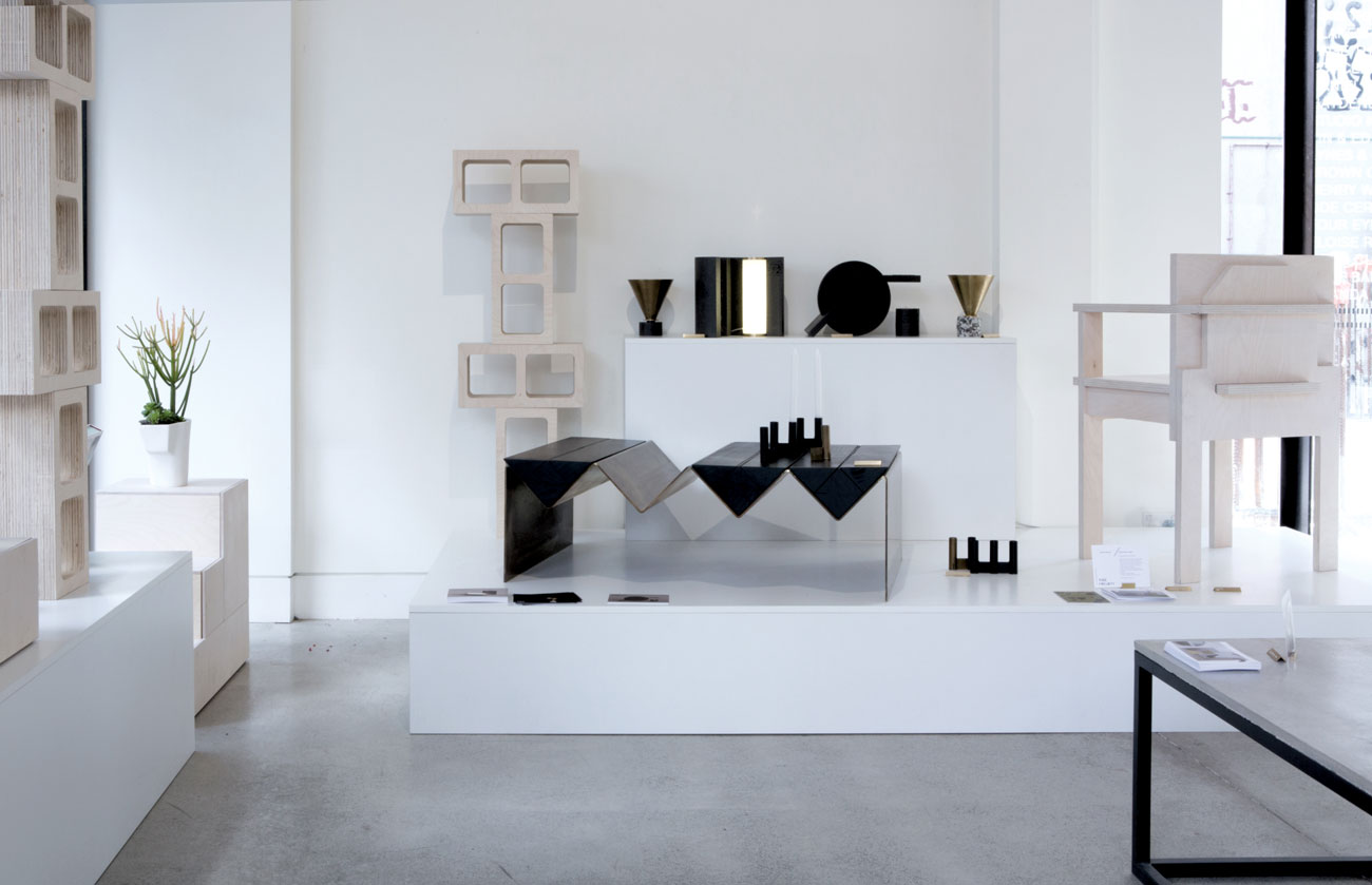 The Page Thirty Three corner of the  Side Project  exhibition showing the 'Slab' chair from the  Optical Delusion  collection and an earlier storage design called 'Bessa Block' along with all the new pieces from the Tactile Equations  collection.
