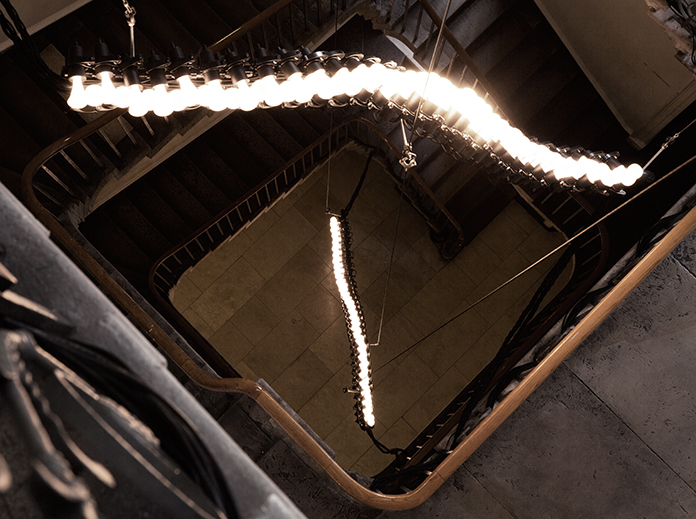 Nassia Inglessis' 'Spine' installation in the Stamp stair,Somerset House. Photo Luke Walker.