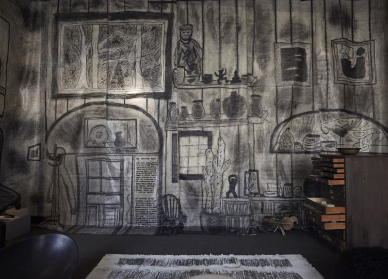 Faye Toogood's 'The Drawing Room'.Real objects inhabiting a drawn-in environment.