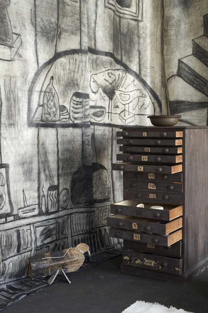 A close-up of the Faye Toogood installation, 'The Drawing Room'.