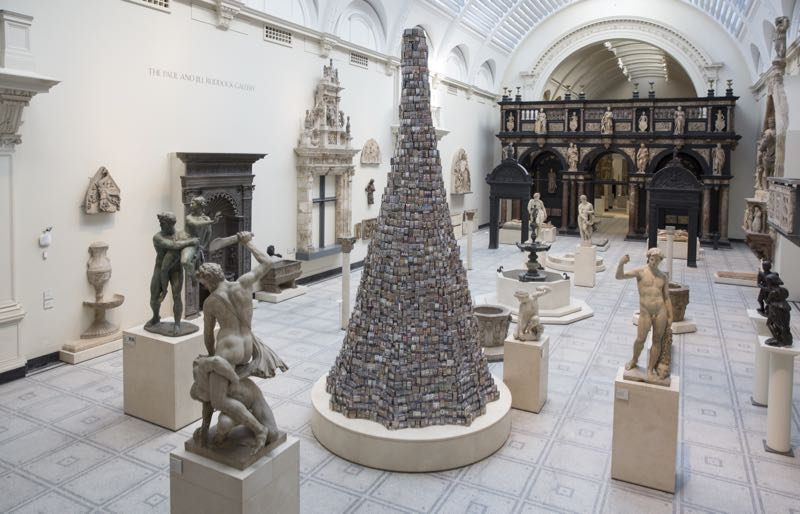 Barnaby Barford's 'Tower of Babel' in the Sculpture Gallery of the V&A.Photo Ed Reeve.