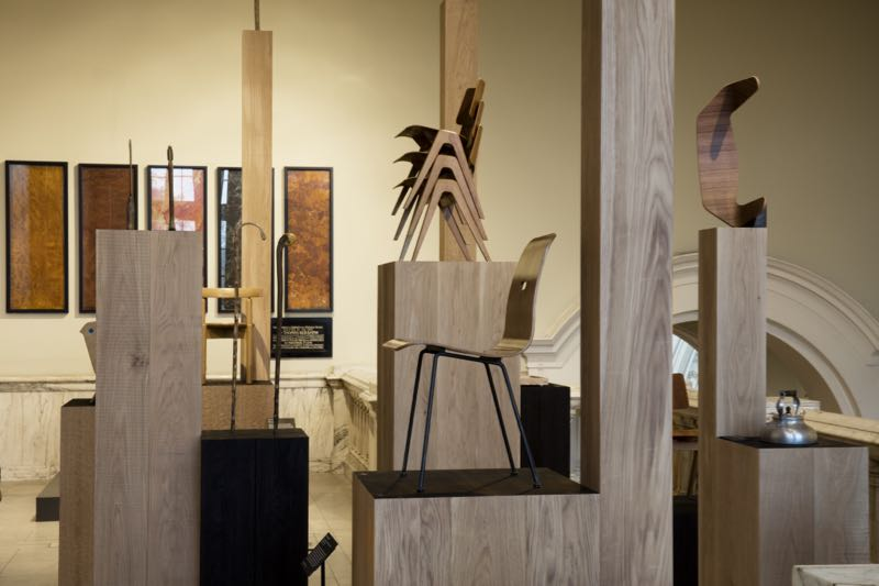 The Robin Day installation  Works in Wood by London architects,Assemble.Photo Ed Reeve.