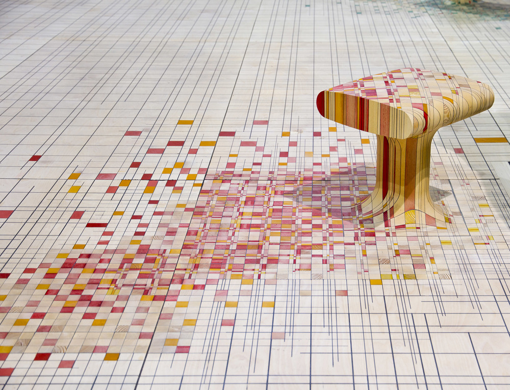 A close up of the floor and stool from the 'Make yourself comfortable' installation by Raw Edges at Chatsworth House.
