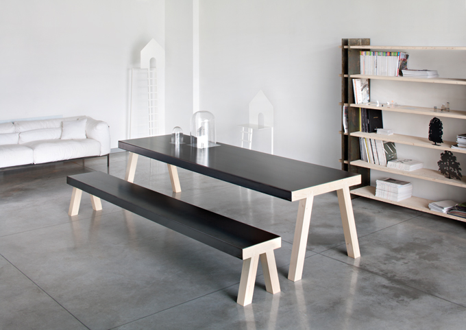 The 'Mastro' range of table, bookshelf and bench in Fir wood and steel by Gum Design for Italian metal specialist,De Castelli. The items flat pack.Photo Alberto Parise.