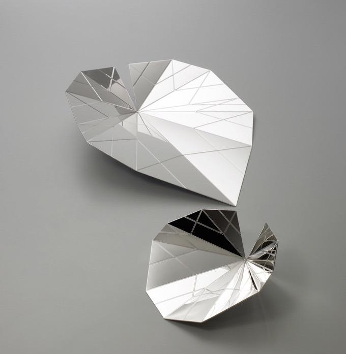 'Foglie' bowls,folded and etched silver by Gum Design for  De Vecchi  2009. Photo Leo Torri