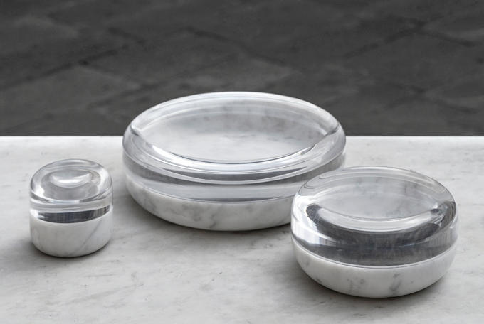 'Disgelo' jewellery bowls for  Dedalo Stone  and  Adeglas  (2015) made from lathe-turned marble and thermo-formed plexiglass. Photo Deborah Nopor.