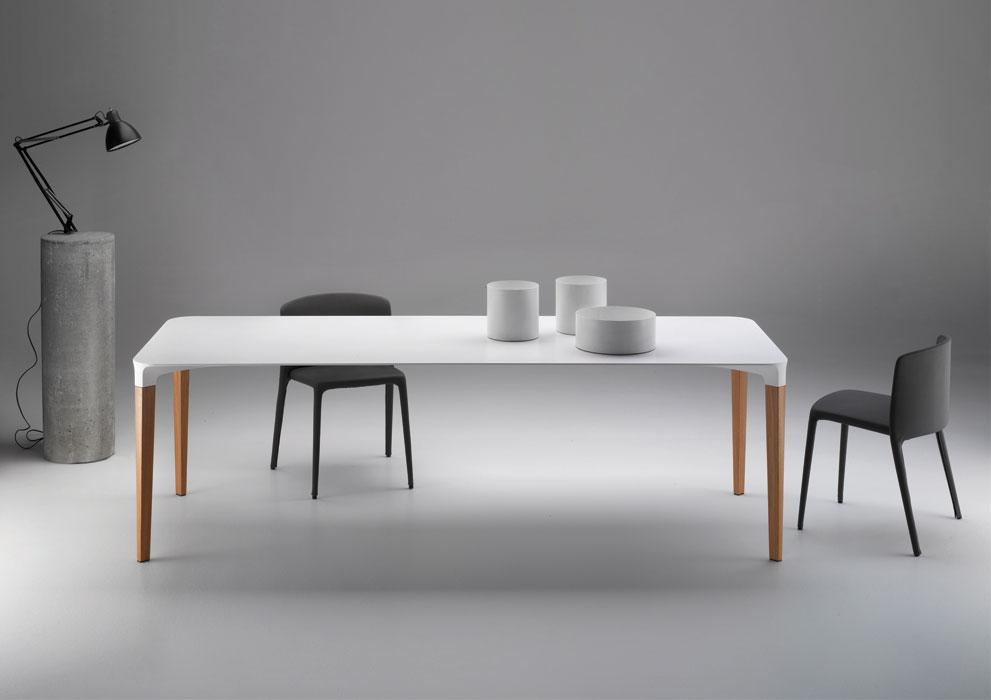 The 'Beam' table for MDF Italia is the final production version of Arrivillaga's competition winning 'Putia' table. The design is made from Cristalplant (solid surface acrylic) &timber.