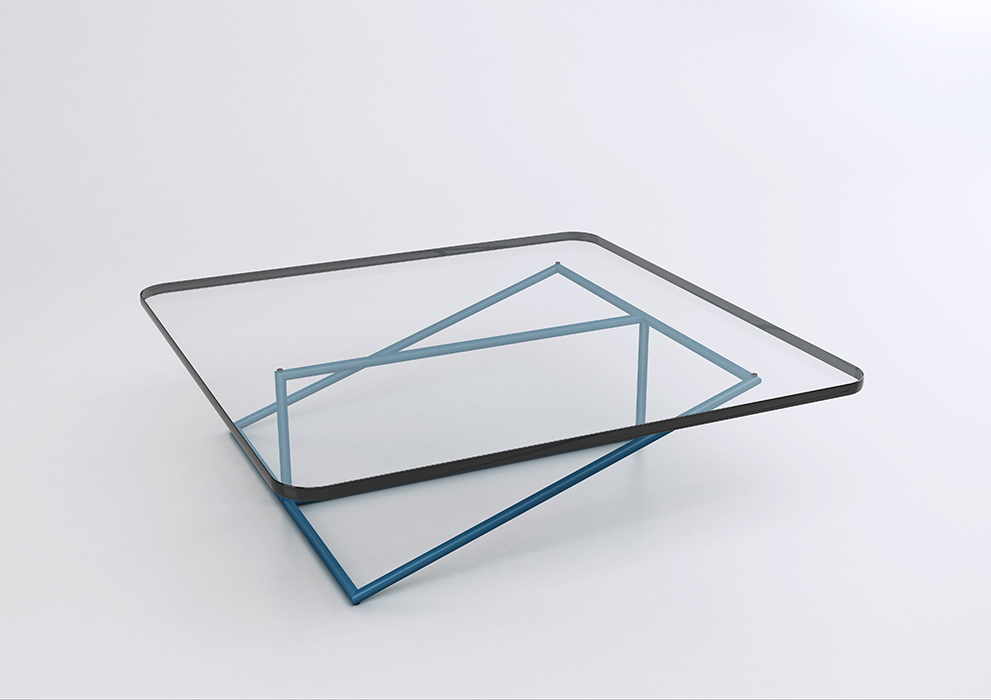 Another view of 'Stan'. The dimension of the glass top is crucial to the outcome of the design as it represents the third 'frame'.