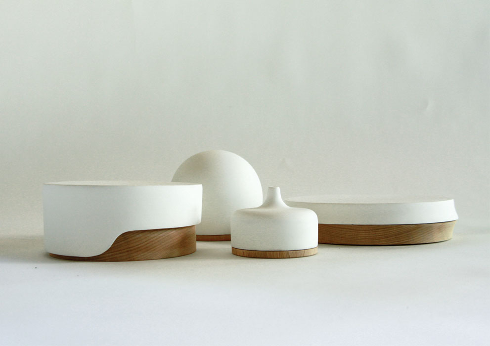'Matter' alumina ceramic and timber jewellery boxes from 2012. The design is still a prototype.