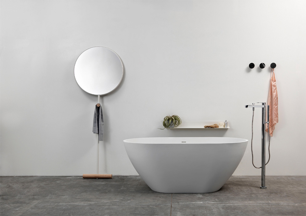 The 'Guilietta' mirror by Luis Arrivillaga for Ex.t is a simple graphic form that combines solid oak with white painted tubular steel.