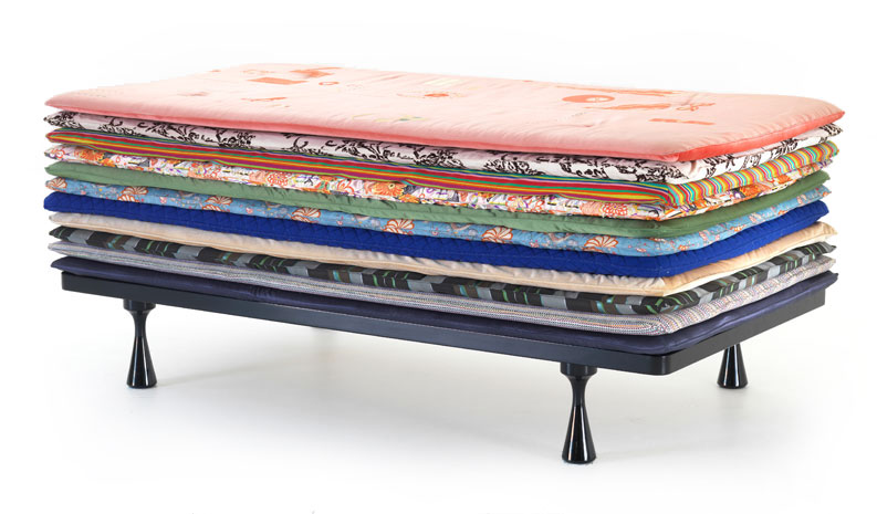 The thick version of Doshi Levien's 'Principessa' for Moroso - eleven mattress layers on a painted timber base. The low version has just 6.