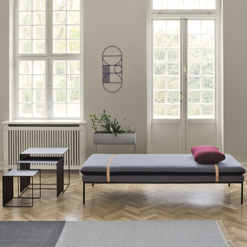 The delicate lines of Ferm Living's new 'Turn' daybed.
