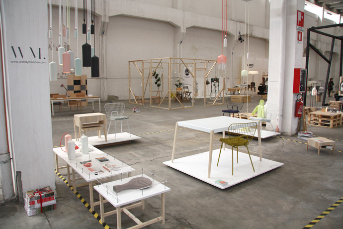 Studio WM presenting the  Lightness in Lines  collection at Ventura Lambrate during Salone del Mobile 2012.