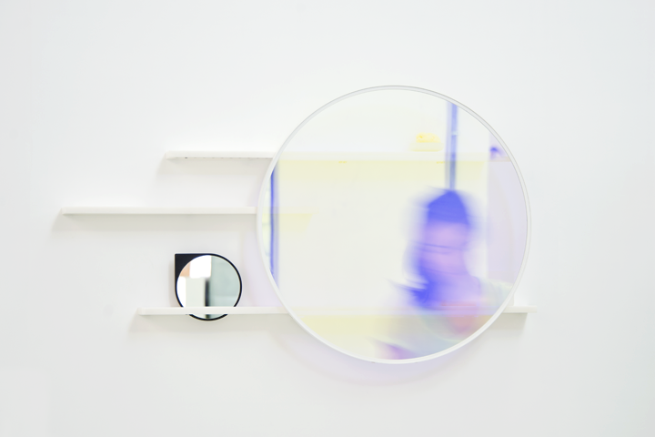 The 'Lucent' mirror from 2014. was presented at Cotto: Another Perspective 2 at Ventura Lambrate. Magically the contents appear or disappear depending on the position of the sliding disc of mirror. Its a trick of the light.  To find out more watch the video here.