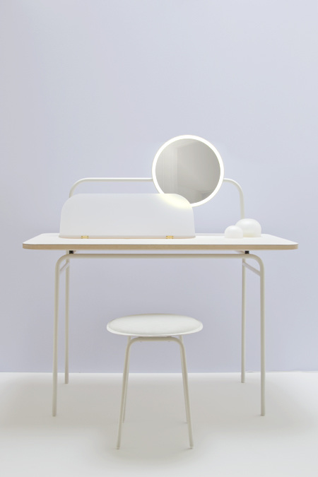 Studio WM's 'Morning Dew' dressing table and stool. Shown as part of Cotto: Another Perspective 2, at Ventura Lambrate in 2014.