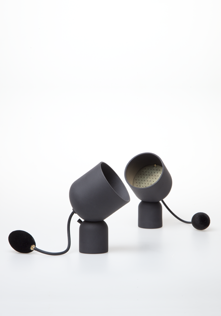 Studio WM's 'Nebula' from the  Senses Unfold  collection of perfume diffusing devices.Black porcelain brass and flock. Photo: Paul Schipper.  You can watch the video here.